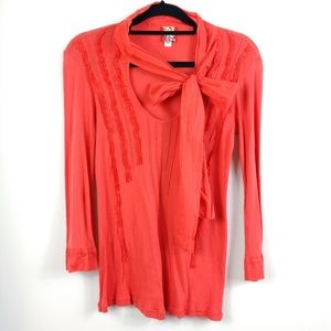 Anthropologie Burning Torch Cotton Long Sleeve Top